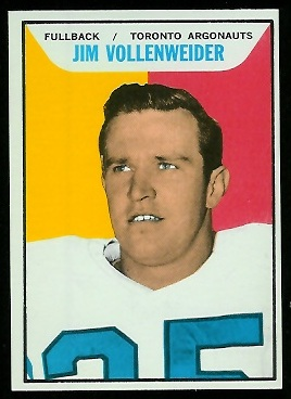 Jim Vollenweider 1965 Topps CFL football card
