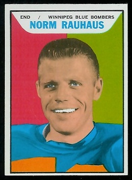 Norm Rauhaus 1965 Topps CFL football card