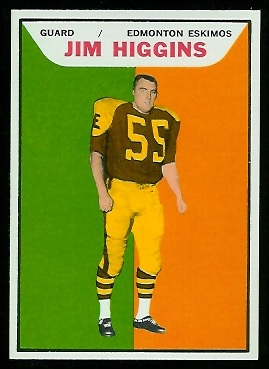 Jim Higgins 1965 Topps CFL football card
