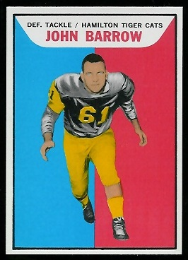 John Barrow 1965 Topps CFL football card
