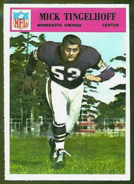 Mick Tingelhoff 1966 Philadelphia football card