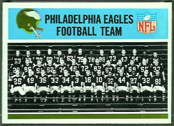Philadelphia Eagles Team 1966 Philadelphia football card