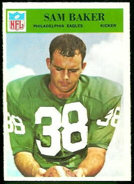 Sam Baker 1966 Philadelphia football card
