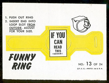 Scram! 1966 Topps Funny Rings football card
