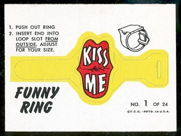 Kiss Me 1966 Topps Funny Rings football card