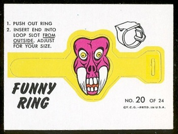 Mr. Fang 1966 Topps Funny Rings football card
