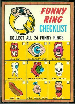Funny Ring Checklist 1966 Topps football card