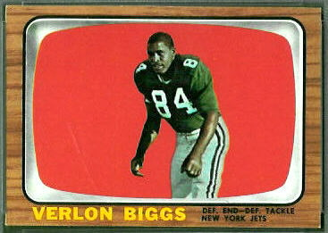 Verlon Biggs 1966 Topps football card