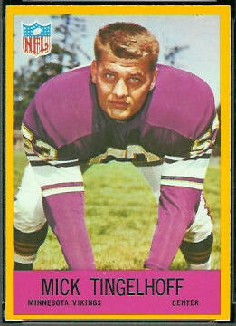 Mick Tingelhoff 1967 Philadelphia football card