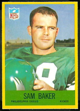 Sam Baker 1967 Philadelphia football card