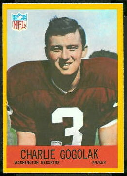 Charlie Gogolak 1967 Philadelphia rookie football card