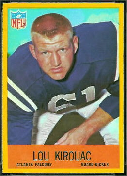 Lou Kirouac 1967 Philadelphia football card