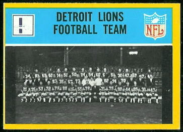 Detroit Lions Team 1967 Philadelphia football card