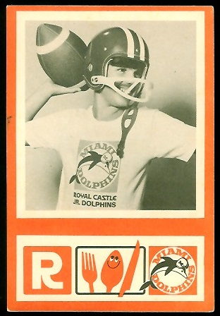 1967 Royal Castle Dolphins Jr. Dolphin football card