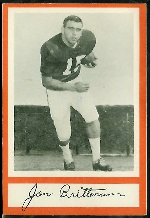 Jon Brittenum 1967 Royal Castle Dolphins football card