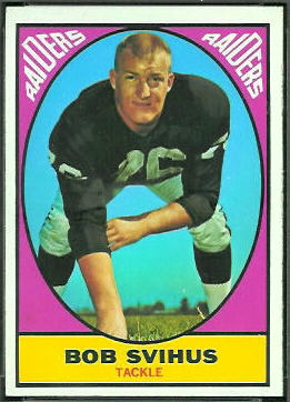 Bob Svihus 1967 Topps football card