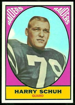 Harry Schuh 1967 Topps football card