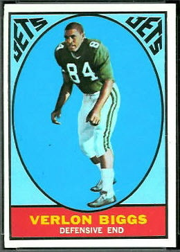 Verlon Biggs 1967 Topps football card