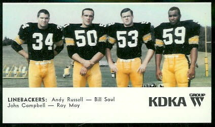 Linebackers 1968 KDKA Steelers football card