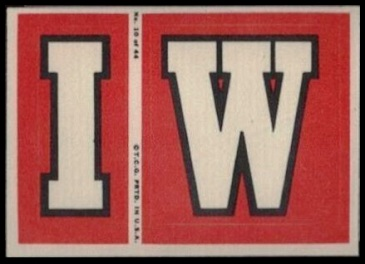 I and W 1968 Topps Test Team Patches football card