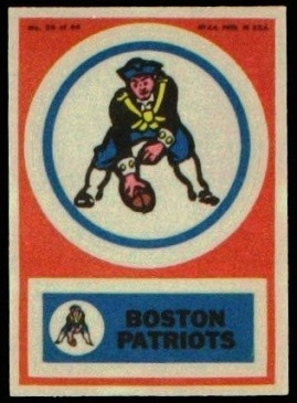 Boston Patriots 1968 Topps Test Team Patches football card