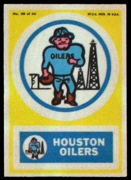 Houston Oilers 1968 Topps Test Team Patches football card