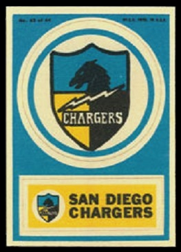 San Diego Chargers 1968 Topps Test Team Patches football card