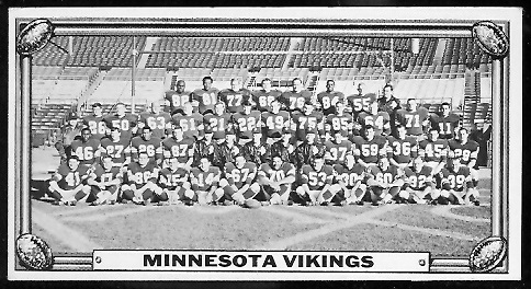 Minnesota Vikings Team 1968 Topps Test Team Photos football card