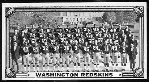 Washington Redskins Team 1968 Topps Test Team Photos football card