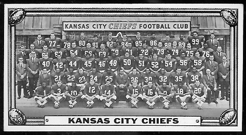 Kansas City Chiefs Team 1968 Topps Test Team Photos football card