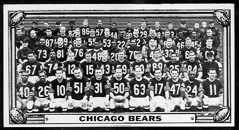 Chicago Bears 1968 Topps Test Team Photo football card