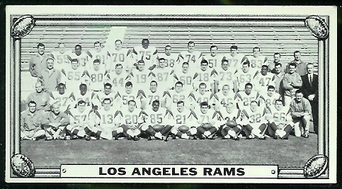 Los Angeles Rams Team 1968 Topps Test Team Photos football card
