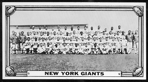 New York Giants Team 1968 Topps Test Team Photos football card