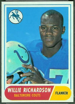 Willie Richardson 1968 Topps football card