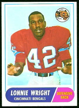 Lonnie Wright 1968 Topps football card