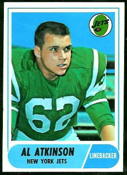 Al Atkinson 1968 Topps football card