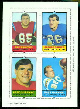 Buoniconti - Saimes - Duranko - MacKinnon 1969 Topps 4-in-1 football card