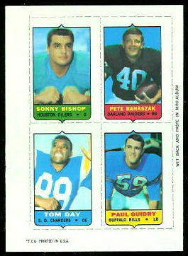 Bishop - Banaszak - Day - Guidry 1969 Topps 4-in-1 football card
