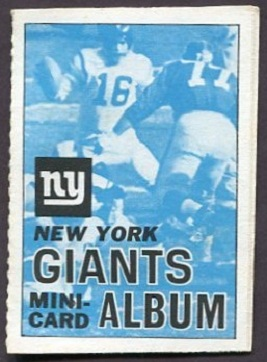 New York Giants 1969 Topps Mini-Card Albums football card