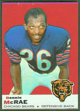Bennie McRae 1969 Topps football card