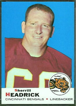 Sherrill Headrick 1969 Topps football card