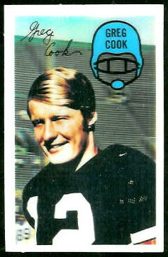 Greg Cook 1970 Kelloggs football card