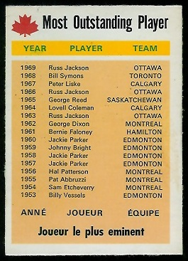 Most Outstanding Player 1970 O-Pee-Chee CFL football card