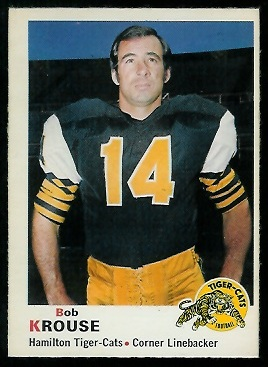 Bob Krouse 1970 O-Pee-Chee CFL football card