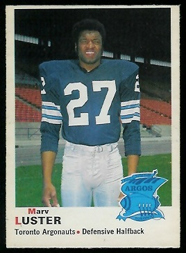 Marv Luster 1970 O-Pee-Chee CFL football card