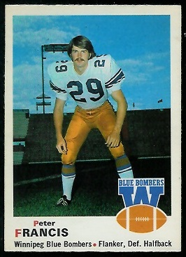 Peter Francis 1970 O-Pee-Chee CFL football card