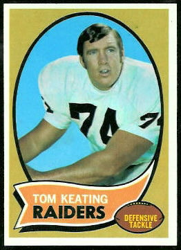 Tom Keating 1970 Topps football card