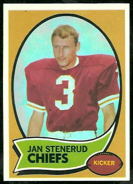 1970 Topps Jan Stenerud rookie football card