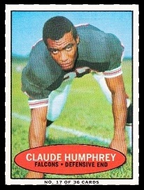 Claude Humphrey 1971 Bazooka football card