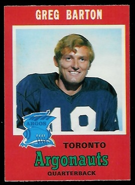Greg Barton 1971 O-Pee-Chee CFL football card